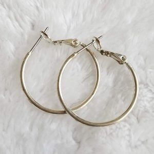 Macy's Medium White Gold Plated Hoop Earrings